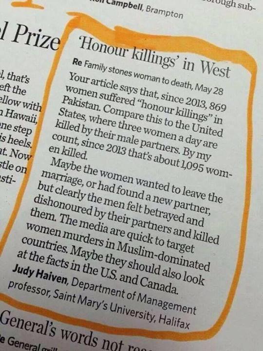 Honour killing in west
