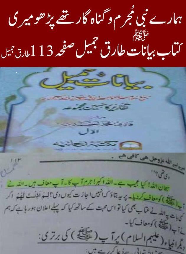 Photo of Rasool Allah was sinful according to Deobandi Molvi Tariq Jameel